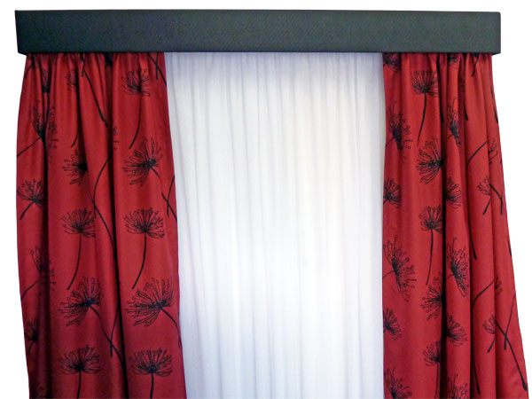 Curtains with pelmet available from Lindy's Curtains and Blinds