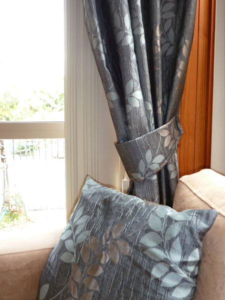 Matching side drape, tie back and cushion available from Lindy's Curtains and Blinds